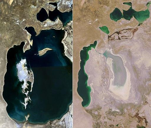 Aufnahme des Aralsees 1989 und nochmals 2008 (Quelle: Wikipedia.org)