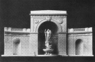 Women in Military Service for America Memorial - A statue of a nude young warrior, sculpted by Adolph A. Weinmen, was proposed for the Hemicycle's main apse.
