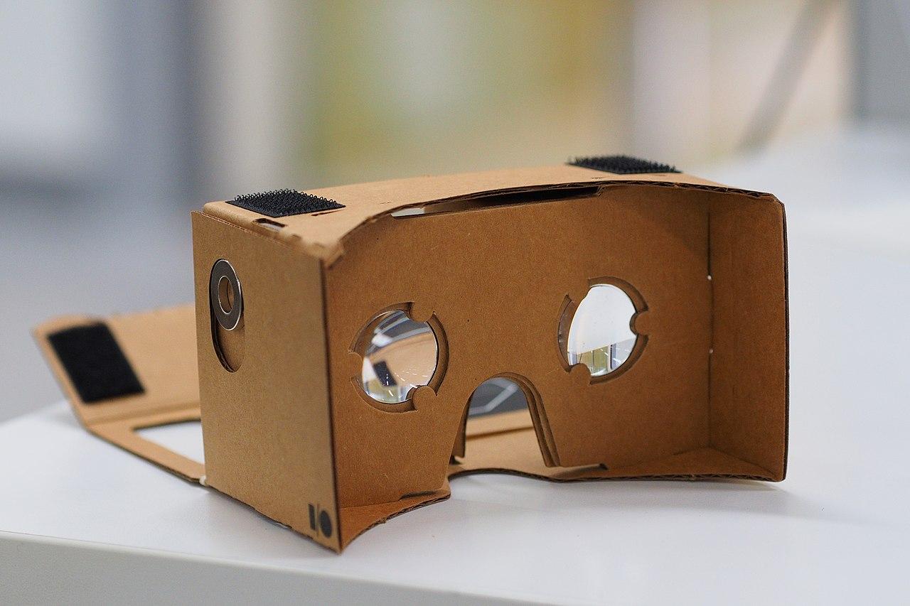 An assembled Google Cardboard VR mount