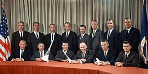 Theodore Freeman - Freeman (standing, fourth from left), with fellow The Fourteen astronauts