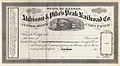 Atchison & Pike's Peak Railroad Company stock certificate 1860s.jpg