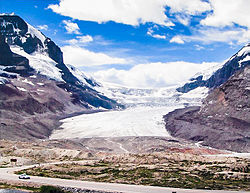The Athabasca Glacier in the Columbia Icefield of the Canadian Rockies, has retreated 1,500 m in the last century.  Also recent animation.