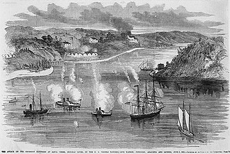 """Battle of Aquia Creek - """"The Attack on the Secession Batteries at Aquia Creek, Potomac River, by the U.S. Vessels Pawnee, Live Yankee, Freeborn, Anacostia and Lioness, June 1, 1861."""""""