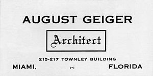August Geiger (architect) - Geiger's notice for services