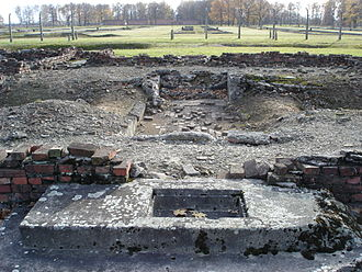 Ruins of crematorium IV, Auschwitz II, blown up during the revolt Auschwitz Birkenau Krematorium IV - 05.jpg