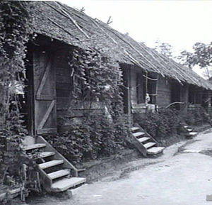 Batu Lintang camp - One of the barracks in the Australian officers' camp. This building housed about 60 officers.