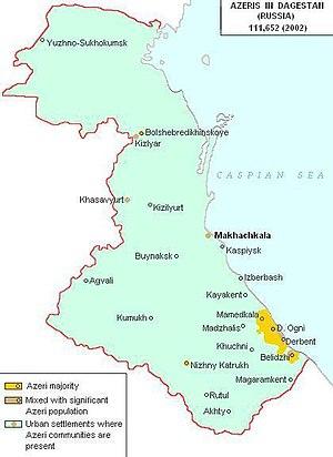 Azerbaijanis in Russia - Map of Dagestan. Azerbaijani populated regions are shown in yellow