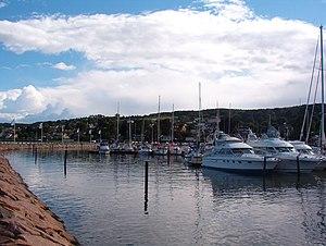 Båstad - The marina;  Hallandian ridge in background