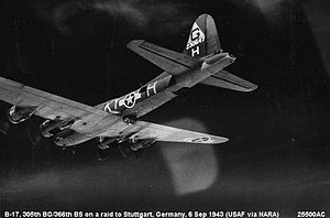 RAF Chelveston - Boeing B-17F-115-BO Flying Fortress, AAF Serial 42-30647 of the 366th BS on a mission to Stuttgart, 6 September 1943. On 23 September 1943, this aircraft crashed at Chevelston returning from a mission, killing all on board.