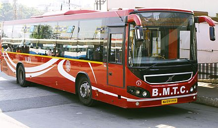 BMTC's Volvo buses are a popular mode of commuting within Bangalore. BMTC Volvo.jpg