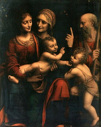 The Virgin and Child with St Anne and St John the Baptist - Holy Family with St Anne and the infant John the Baptist, Bernardino Luini