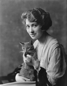 Bainter, Fay, Miss, with Buzzer the cat, portrait photograph.jpg