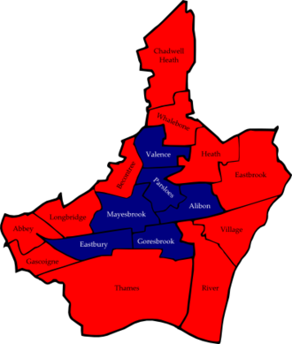 Barking and Dagenham London Borough Council election, 2006 - Map of the results of the 2006 Barking and Dagenham council election with ward names. Coloured by party which topped the poll in each ward. Labour in red and British National Party in dark blue.