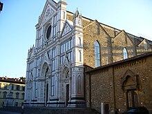La Basilica di Santa Croce a Firenze, dove sono sepolti numerosi grandi della storia italiana