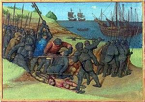 Hygelac - Battle between Franks and Danes in 515, Jean Fouquet's illumination in the Grandes Chroniques de France, Tours, c 1455-60