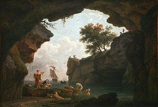 Baigneurs dans une grotte