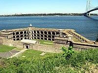 Battery fort in front of the Verazzano Narrows Bridge