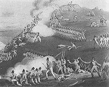 Print shows early 19th Century British soldiers atop a hill firing at French soldiers climbing a steep slope.