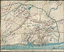 Map of the battle of Shiloh depicting troop movements