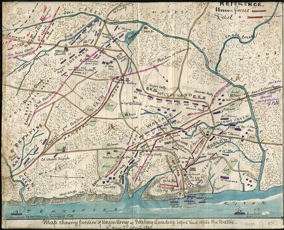 Battle of Shiloh battle map, 1865