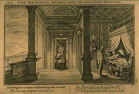 Morphée apparaît à Alcyone sous les traîts de Céyx, gravure de  pour le livre XI des Métamorphoses d'Ovide