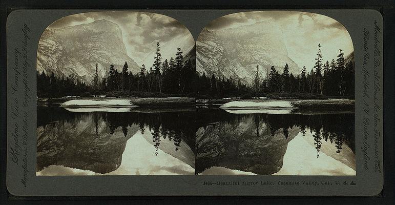 Beautiful Mirror Lake, Yosemite Valley, Cal. U.S.A, by Singley, B. L. (Benjamin Lloyd) 3.jpg
