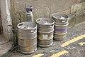 Beer kegs outside Coasters, Oban, July 2020 01.jpg