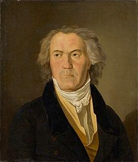 Beethoven en 1823, à l'époque de la composition des Variations Diabelli et de la Neuvième symphonie. Muré dans sa surdité devenue totale, il ne communique plus avec son entourage que par l'intermédiaire de cahiers de conversation. Portrait de F.G. Waldmüller (1823).