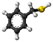 Ball-and-stick model of the benzyl mercaptan molecule