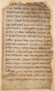 Colour photograph of folio 137r of the Beowulf manuscript