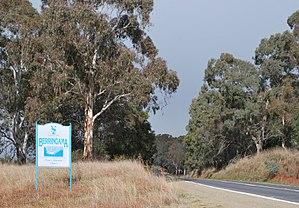 Berringama - Entering Berringama along the Murray Valley Highway
