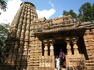 """Bhoramdeo Temple - Main tower with the open """"half shelters"""" in the front facing south"""
