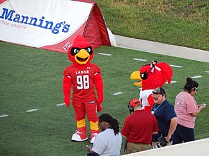 Big Red (Lamar University) - Big Red and Lu before the game