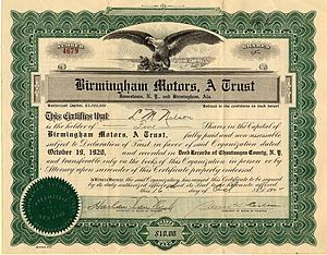 Stock certificate for 10 shares of Birmingham ...