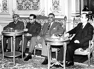 Salah al-Din al-Bitar - A meeting between the Syrian and Egyptian delegations. From left to right: Prime Minister Bitar, head of state Atassi, Egyptian President Nasser, and Aflaq, the Ba'ath Party leader