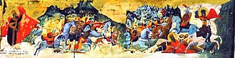 Battle of Velbazhd - A detail from a 16th-century icon of Stefan Dečanski, depicting the Battle of Velbazhd.