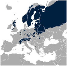 Close up of distribution of black grouse in Europe