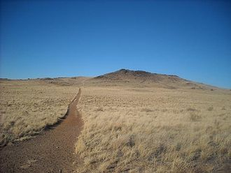 Black Volcano - Black Volcano in Petroglyph National Monument, as seen from its south, at the trail head connecting it to JA volcano on January 14, 2009