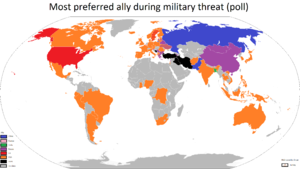 Alliance - Map indicating international preferences for principle ally in the case a country were attacked, as of 2017.