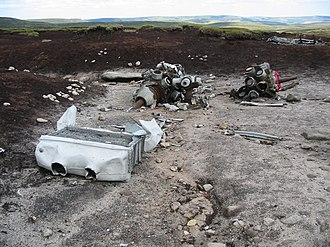 Bleaklow - Engine wreckage on Shelfstones
