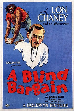 A Blind Bargain - Wallace Beery (background) and Lon Chaney, on the original, 1922 theatrical poster