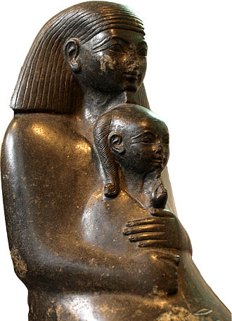 Girl - Princess Neferure as a girl, sitting on the lap of her tutor Senenmut. Girls and women in Ancient Egypt enjoyed a relatively high social status.