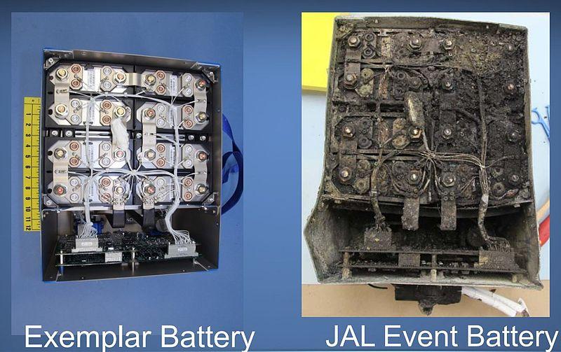 Comparativa de las baterías del 787 de Japan Airlines. A la izquierda, la batería original. A la derecha, la batería dañada.
