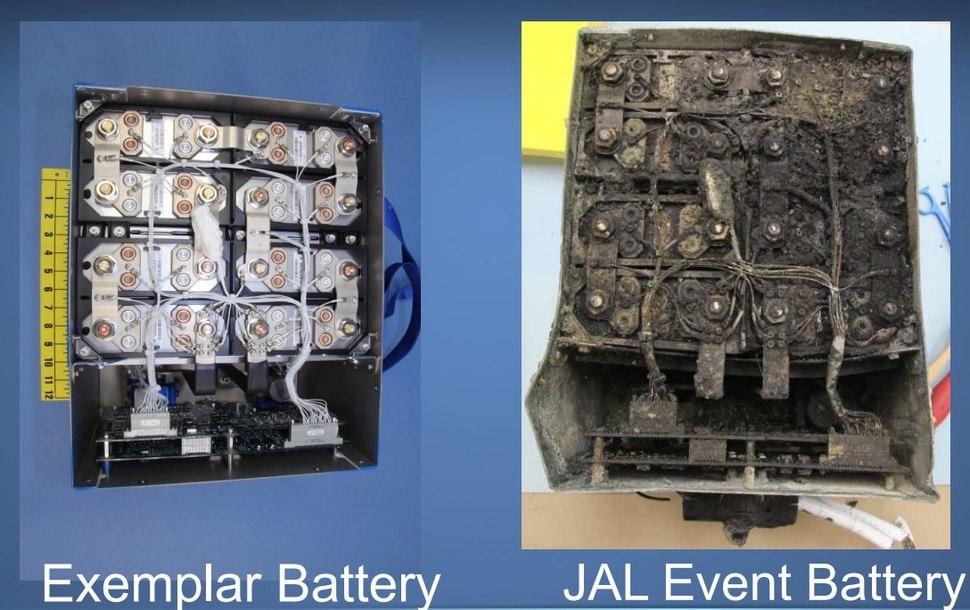 Boeing Dreamliner battery original and damaged