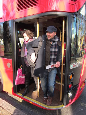 New Routemaster - Passengers alighting from the rear platform