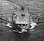 Bow view of USS Gilbert Islands (CVE-107), in 1954.jpg