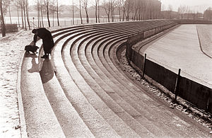 Ljudski vrt - The concrete terraces enclosed the pitch on three sides and were used as a standing area until the 1990s.
