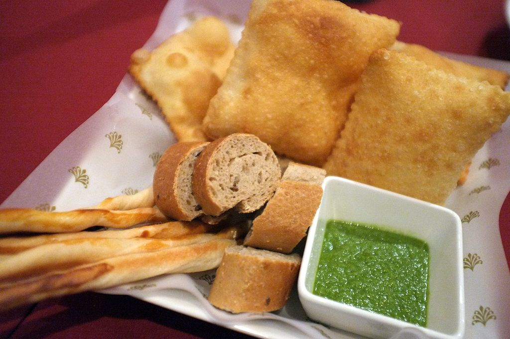Breads with green dipping sauce.jpg