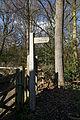 Bridleway fingerpost at Gernon Bushes Nature Reserve, Coopersale Essex England.jpg