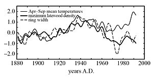 Briffa-tree ring density vs temperature 1880-2000.jpg